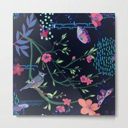 Midnight Bluejay Floral Metal Print