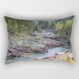 Rain on McDonald Creek in Glacier NP Rectangular Pillow