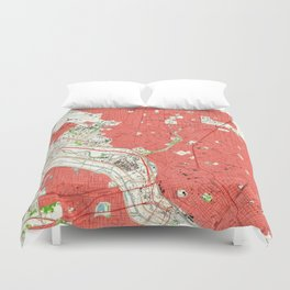 Vintage Map of Dallas Texas (1958) 2 Duvet Cover