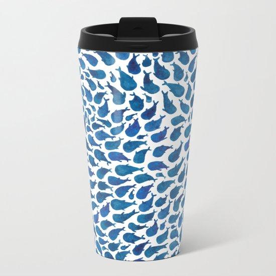Blue Whales Metal Travel Mug