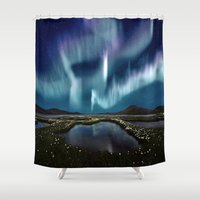 northern lights Shower Curtains featuring Northern Lights by FantasyArtDesigns