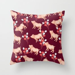 New Year 2019 pattern Throw Pillow