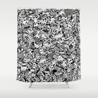 chihiro Shower Curtains featuring Crazy story crazy tale black and white by Chihiro Streetcat