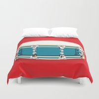 drum Duvet Covers featuring Drum - Red by Ornaart