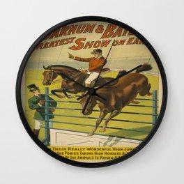 Vintage poster - Circus High Jumping Horses Wall Clock