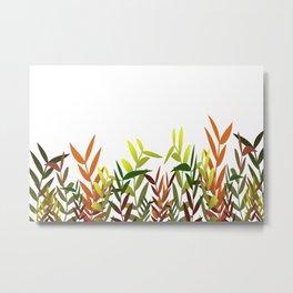 Colorful Leaves white - Illustration Metal Print