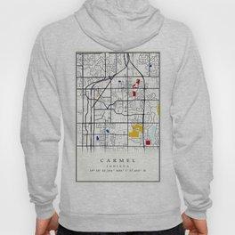 Carmel Indiana Mondrian Map art gift Hoody