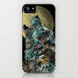 floral animals howling wolf iPhone Case