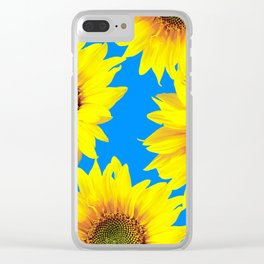 Sunny Sunflowers with blue sky - summer mood - #Society6 #buyart Clear iPhone Case