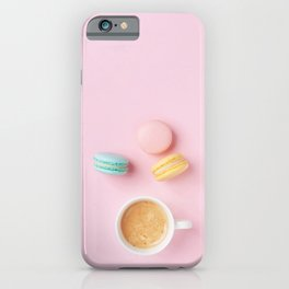 Colorful Macaroons & Coffee iPhone Case