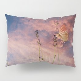 Butterfly and Blush Pink and Indigo Blue Sunset Pillow Sham