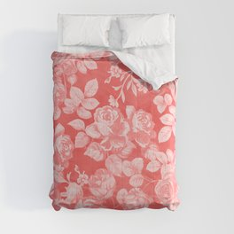 Living coral pink watercolor country chic floral Comforters