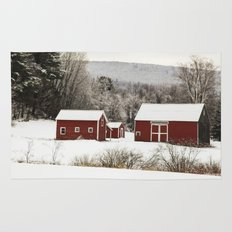 The Red Barn in Winter Rug