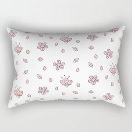 Sweet Sakura Smiles - Springtime - White and Blushing Pink Rectangular Pillow