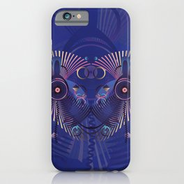 Stylized sound speaker with geometric elements iPhone Case