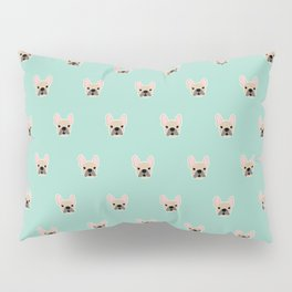 Fawn Frenchie Black Mask French Bulldog Print Pattern on Mint Green Background Pillow Sham