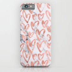 Valentines Day Rose Gold Marble Hearts Pattern Romantic iPhone 6s Slim Case