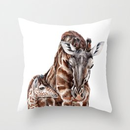 Giraffe with Baby Giraffe Throw Pillow