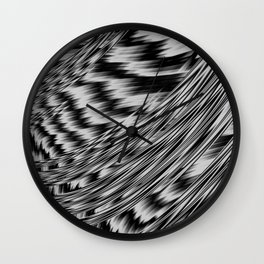 Black and White Abstract Fractal Wall Clock