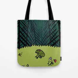 Frog On A Forest Field Tote Bag