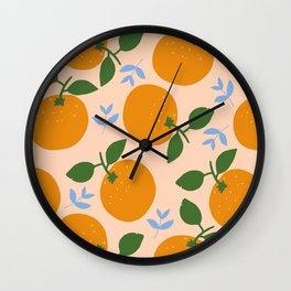 Oranges - gouache painting Wall Clock