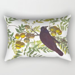 American Crow Vintage Bird Illustration Rectangular Pillow