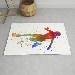 Woman in roller skates 12 in watercolor Rug