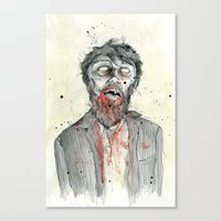 zombie Canvas Prints featuring Zombie! by Chris Gauvain