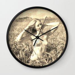 Vintage Beauty of Nature  - erotic photography rework, sexy topless girl at field, kinky nude posing Wall Clock