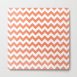 Peach Small Chevron Metal Print