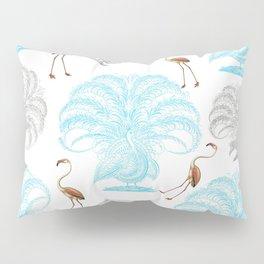 Vintage blue gray orange flamingo peacock drawing Pillow Sham