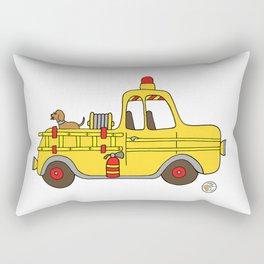 Firetruck Yellow Vintage Fire Truck Rectangular Pillow