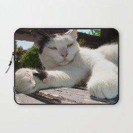 Black and White Bicolor Cat Lounging on A Park Bench Laptop Sleeve