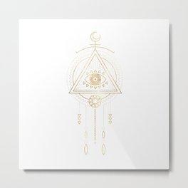 Mandala Golden Eye Geometric Tribal Metal Print