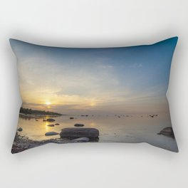 Sun with faint halo over the calm sea and reef rocks Rectangular Pillow
