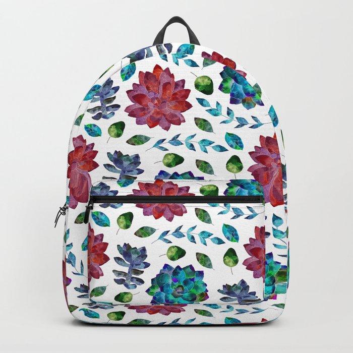 Succulent Garden Pattern Blue Red Backpack