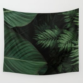 Tropical Beauty // Tropical Boho Leaves meets Minimalist Patterns Wall Tapestry
