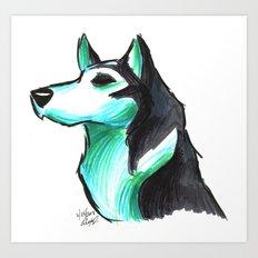 Brush Breeds-Siberian Husky Art Print