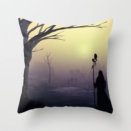 Wanderers : a post-apocalyptic foggy scene. Throw Pillow