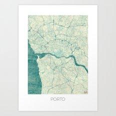 Porto Map Blue Vintage Art Print