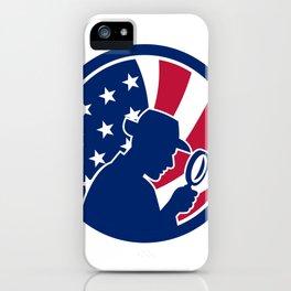 American Private Investigator USA Flag Icon iPhone Case