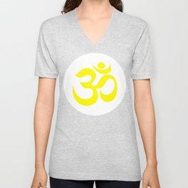 Yellow AUM / OM Reiki symbol on white background Unisex V-Neck