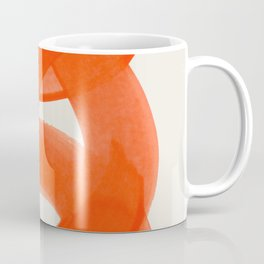 Mid Century Modern Abstract Painting Orange Watercolor Brush Strokes Coffee Mug