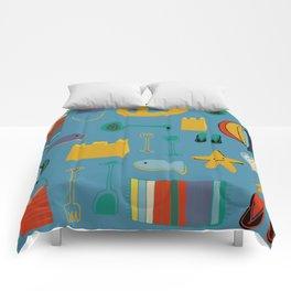 beach gear blue Comforters