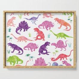 Watercolor Dinosaur Silhouette Pattern Purple Pink Green Serving Tray