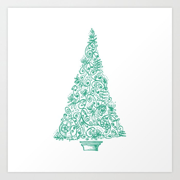 green christmas tree in new zealand art print by emiliegeant society6