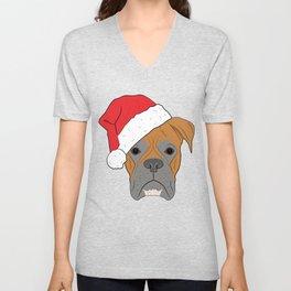 Christmas Festive Boxer dog Unisex V-Neck
