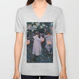 John Singer Sargent - Carnation, lily, lily, rose Unisex V-Neck