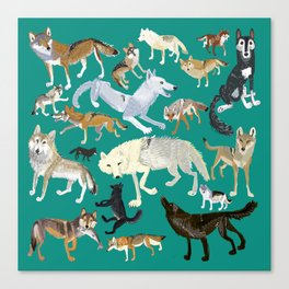 Wolves of the World Green pattern Canvas Print