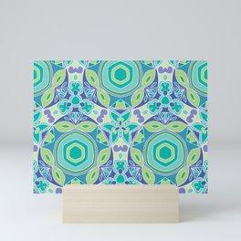Green blue Kaleidoscope Mini Art Print